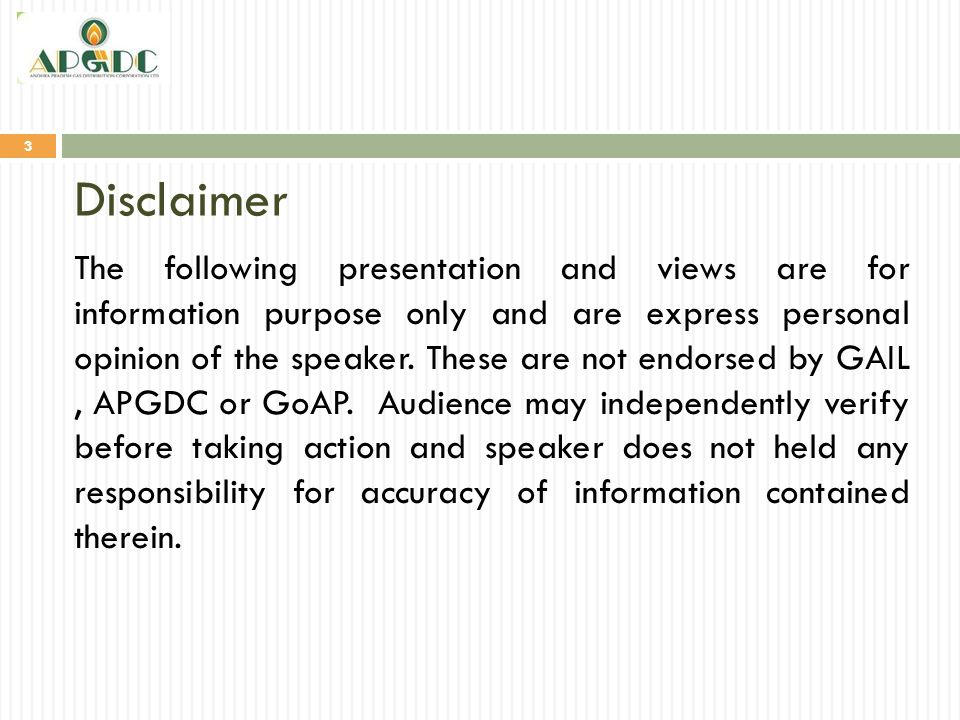 Disclaimer 3 The following presentation and views are for information purpose only and are express personal opinion of the speaker. These are not endo