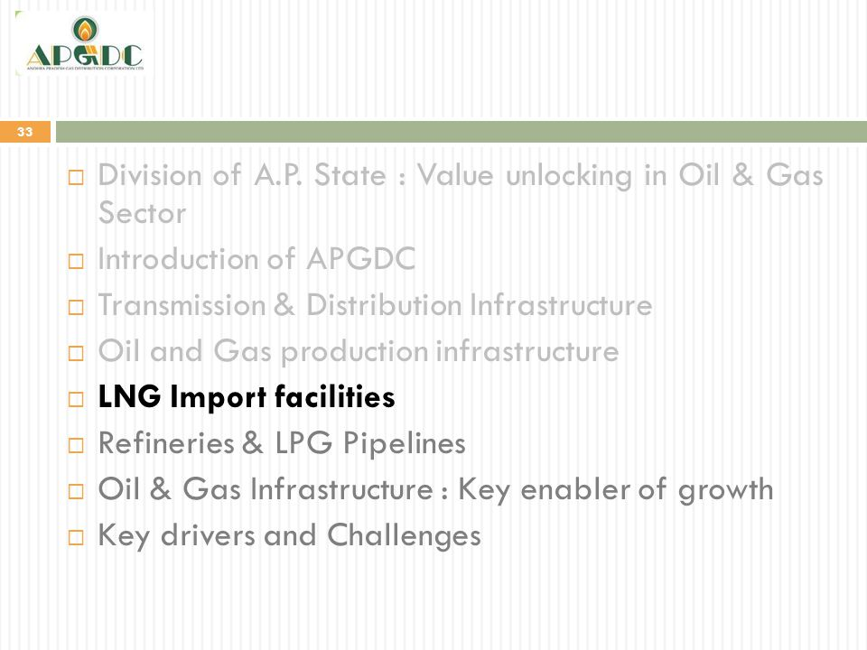 33  Division of A.P. State : Value unlocking in Oil & Gas Sector  Introduction of APGDC  Transmission & Distribution Infrastructure  Oil and Gas p