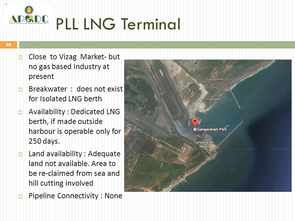 PLL LNG Terminal 39  Close to Vizag Market- but no gas based Industry at present  Breakwater : does not exist for Isolated LNG berth  Availability