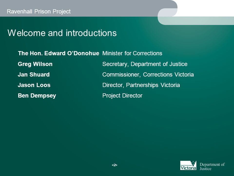 Ravenhall Prison Project Agenda 1.Welcome – Minister for Corrections 2.