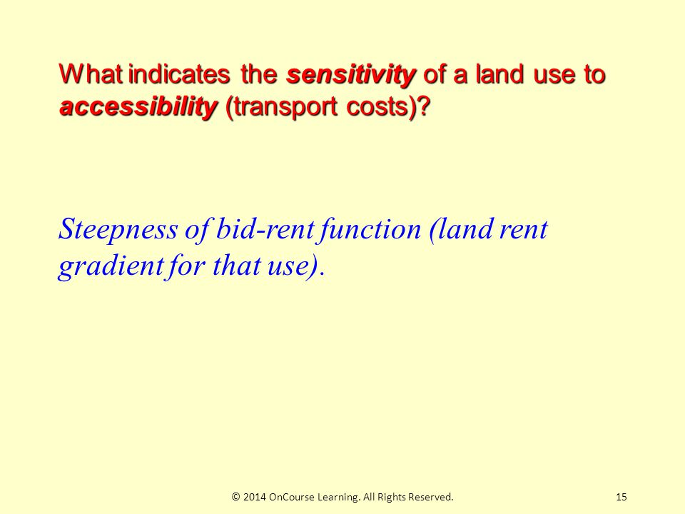 15 What indicates the sensitivity of a land use to accessibility (transport costs).