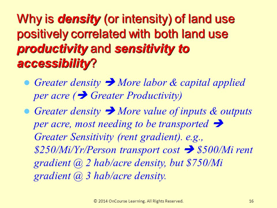 16 Why is density (or intensity) of land use positively correlated with both land use productivity and sensitivity to accessibility.