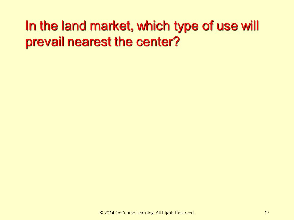 17 In the land market, which type of use will prevail nearest the center.