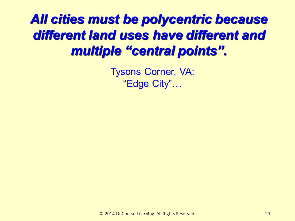 29 All cities must be polycentric because different land uses have different and multiple central points .