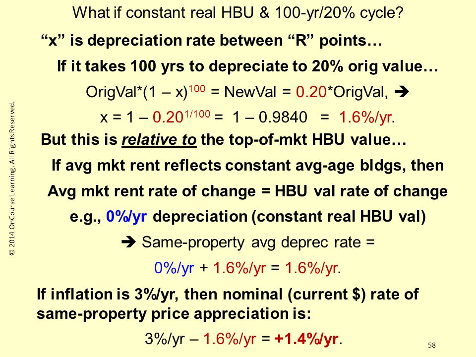 58 x is depreciation rate between R points… If it takes 100 yrs to depreciate to 20% orig value… OrigVal*(1 – x) 100 = NewVal = 0.20*OrigVal,  x = 1 – 0.20 1/100 = 1 – 0.9840 = 1.6%/yr.