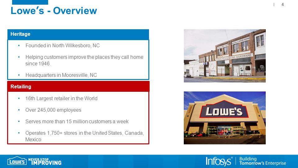 4 Lowe's - Overview Heritage Founded in North Wilkesboro, NC Helping customers improve the places they call home since 1946.