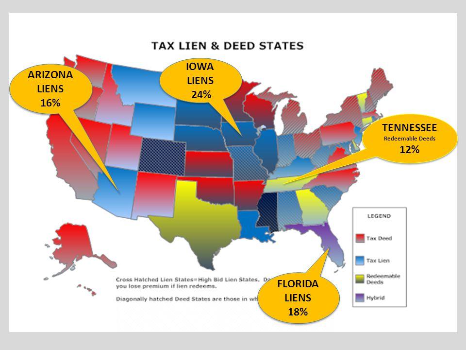 TENNESSEE Redeemable Deeds 12% TENNESSEE Redeemable Deeds 12% ARIZONA LIENS 16% FLORIDA LIENS 18% FLORIDA LIENS 18% IOWA LIENS 24% IOWA LIENS 24%