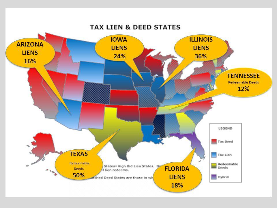 TENNESSEE Redeemable Deeds 12% TENNESSEE Redeemable Deeds 12% ARIZONA LIENS 16% FLORIDA LIENS 18% FLORIDA LIENS 18% IOWA LIENS 24% IOWA LIENS 24% ILLI