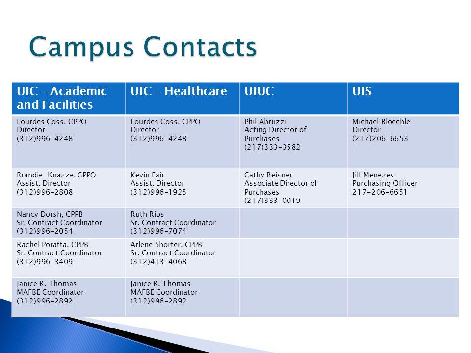 UIC – Academic and Facilities UIC - HealthcareUIUCUIS Lourdes Coss, CPPO Director (312)996-4248 Lourdes Coss, CPPO Director (312)996-4248 Phil Abruzzi