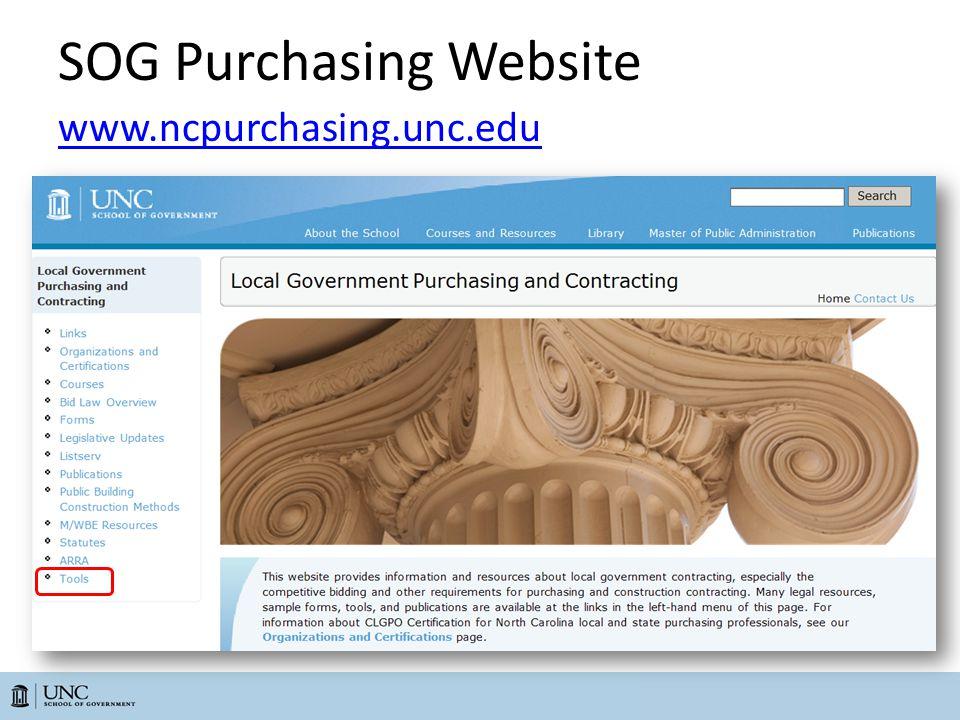 SOG Purchasing Website www.ncpurchasing.unc.edu