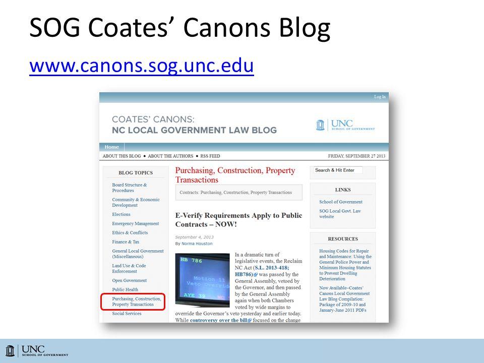 SOG Coates' Canons Blog www.canons.sog.unc.edu www.canons.sog.unc.edu