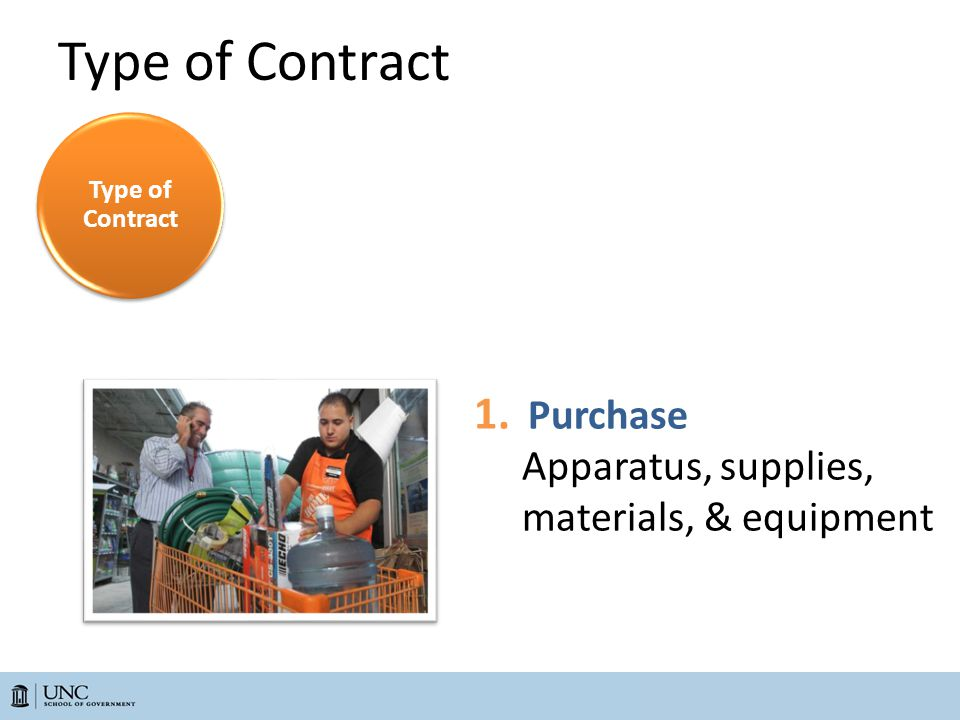 1. Purchase Apparatus, supplies, materials, & equipment