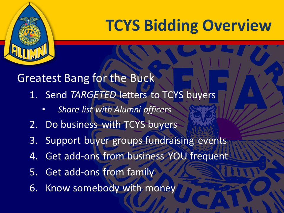 TCYS Bidding Overview Greatest Bang for the Buck 1.Send TARGETED letters to TCYS buyers Share list with Alumni officers 2.Do business with TCYS buyers