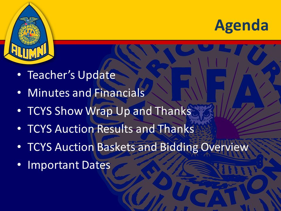 TCYS Bidding Overview Greatest Bang for the Buck 1.Send TARGETED letters to TCYS buyers Share list with Alumni officers 2.Do business with TCYS buyers 3.Support buyer groups fundraising events 4.Get add-ons from business YOU frequent 5.Get add-ons from family 6.Know somebody with money