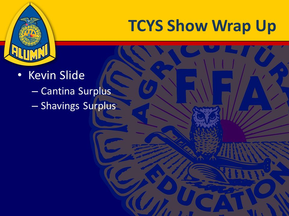 TCYS Show Wrap Up Kevin Slide – Cantina Surplus – Shavings Surplus