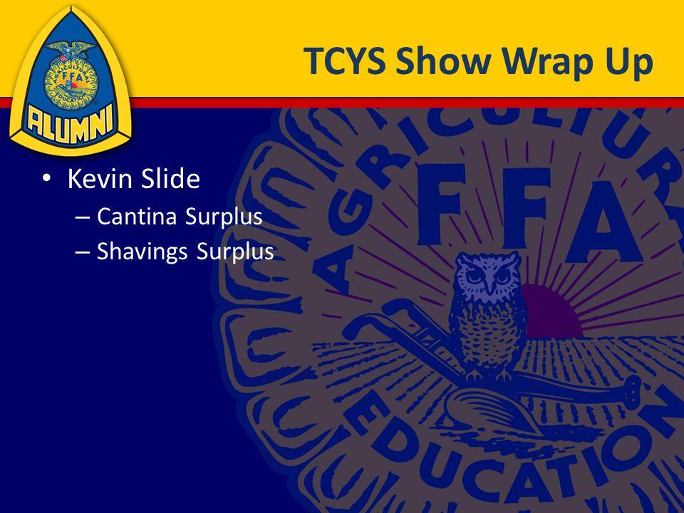 TCYS Show Thanks Kevin Cotton (Big Cheese) Karl Arneson (Cantina) – Steve Greer, Preston Gregg, Beth Cotton Steve Greer (Logistics) JoAnna Janecek (Decorating) Michelle Greer (Herdsmanship) RVs (Lisa Houston)