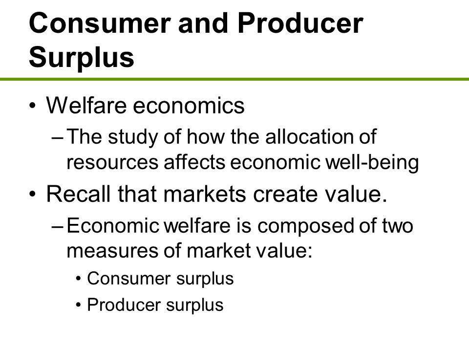 Consumer and Producer Surplus Consumer surplus graphically: –The height of the demand curve is our maximum willingness to pay for that unit of the good.