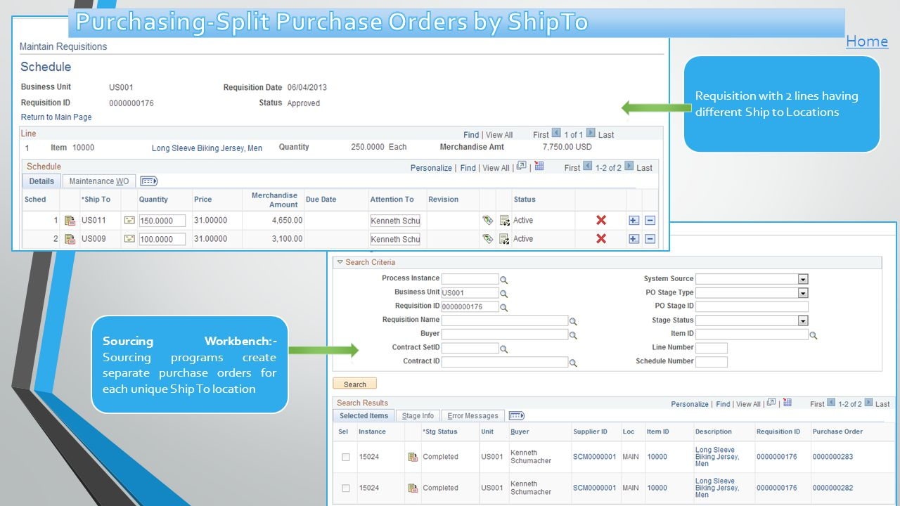 Sourcing Workbench:- Sourcing programs create separate purchase orders for each unique Ship To location Requisition with 2 lines having different Ship to Locations Home