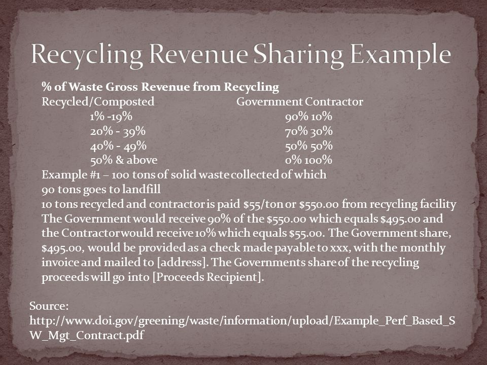 Source: http://www.doi.gov/greening/waste/information/upload/Example_Perf_Based_S W_Mgt_Contract.pdf % of Waste Gross Revenue from Recycling Recycled/Composted Government Contractor 1% -19% 90% 10% 20% - 39% 70% 30% 40% - 49%50% 50% 50% & above0% 100% Example #1 – 100 tons of solid waste collected of which 90 tons goes to landfill 10 tons recycled and contractor is paid $55/ton or $550.00 from recycling facility The Government would receive 90% of the $550.00 which equals $495.00 and the Contractor would receive 10% which equals $55.00.