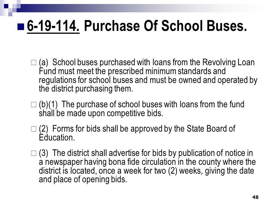 6-19-114. Purchase Of School Buses.