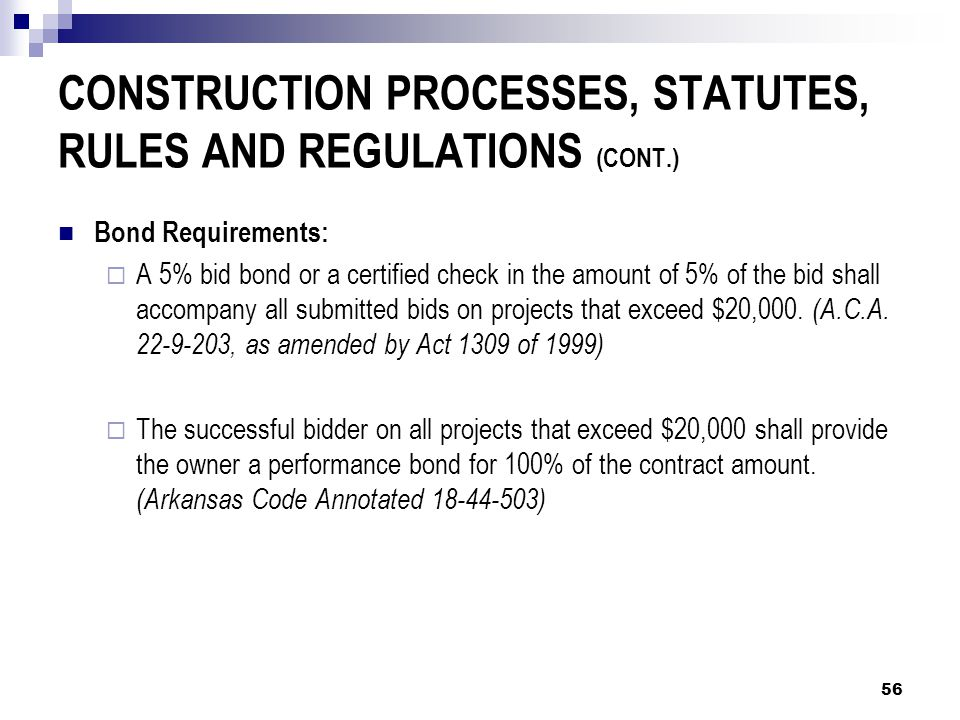 CONSTRUCTION PROCESSES, STATUTES, RULES AND REGULATIONS (CONT.) Bond Requirements:  A 5% bid bond or a certified check in the amount of 5% of the bid shall accompany all submitted bids on projects that exceed $20,000.