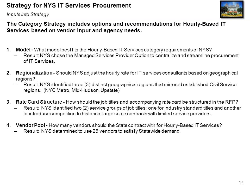 Strategy for NYS IT Services Procurement 1.Model - What model best fits the Hourly-Based IT Services category requirements of NYS? –Result: NYS chose