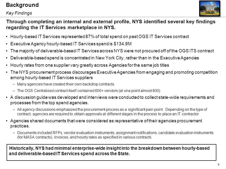 Background Hourly-based IT Services represented 87% of total spend on past OGS IT Services contract Executive Agency hourly-based IT Services spend is