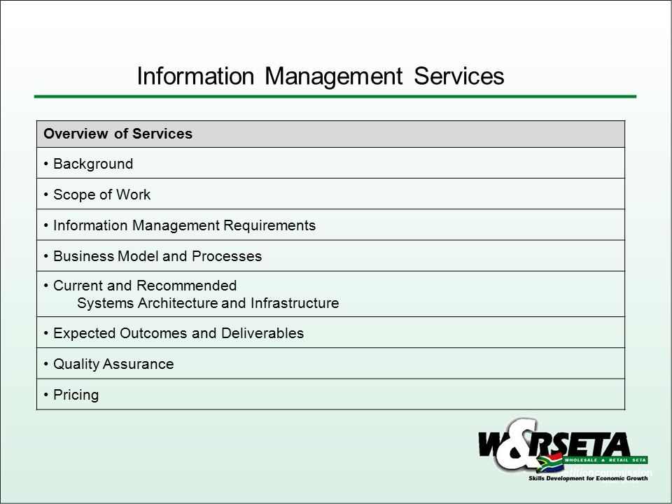 NumberDescription 1Schedule A - Scope of Work 2Schedule B - Other 3Schedule C – Total Cost Tender Name Information Management Services Tender Reference : CFO/ITS/050/01 Document : Pricing Proposal Information Management Services