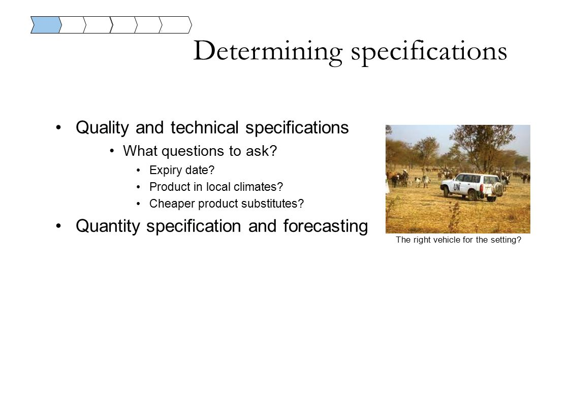 Determining specifications Quality and technical specifications What questions to ask.