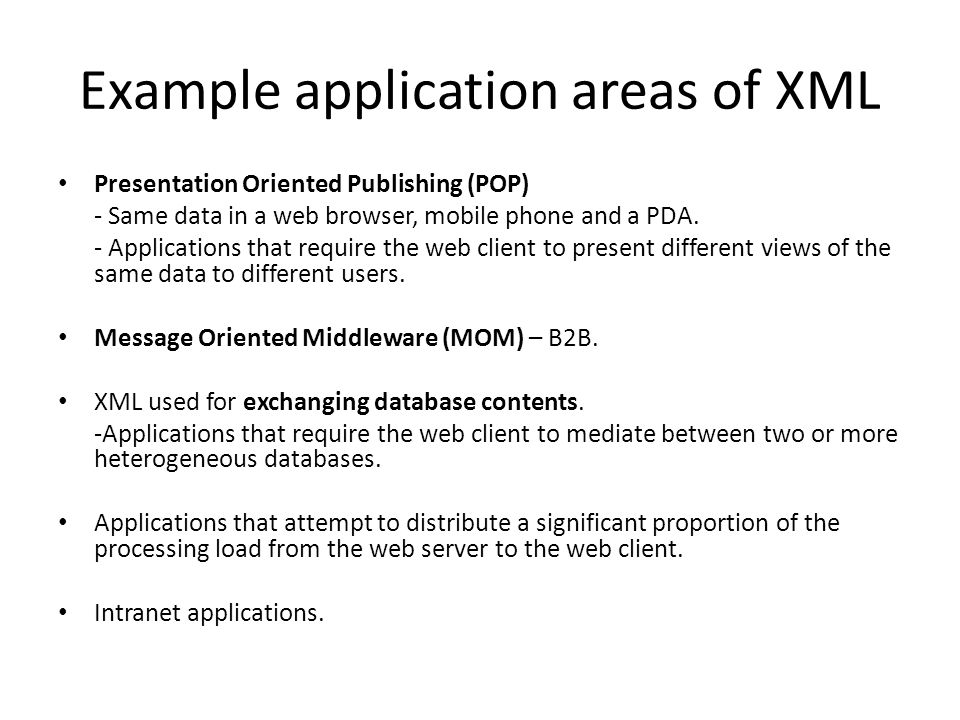 Example application areas of XML Presentation Oriented Publishing (POP) - Same data in a web browser, mobile phone and a PDA.
