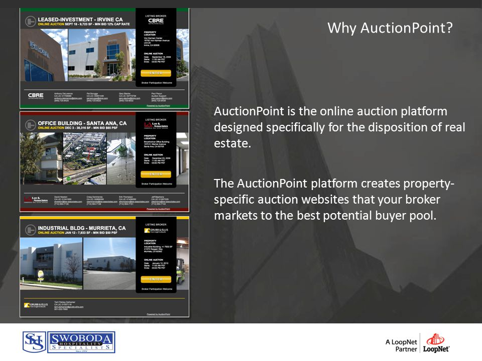 AuctionPoint is the online auction platform designed specifically for the disposition of real estate.