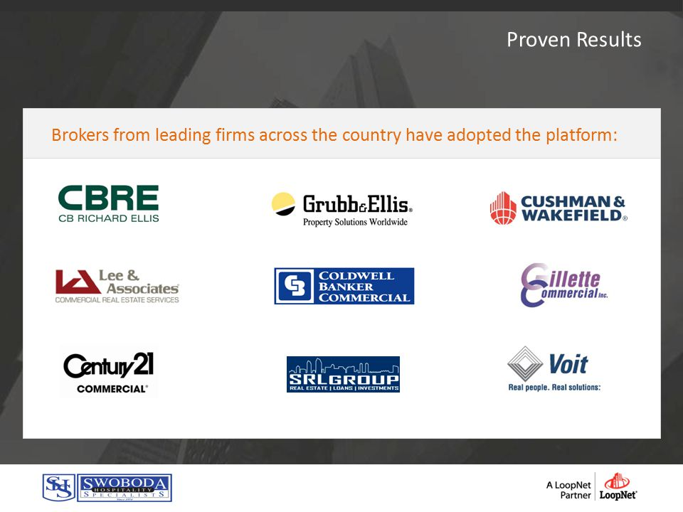 Proven Results Brokers from leading firms across the country have adopted the platform: