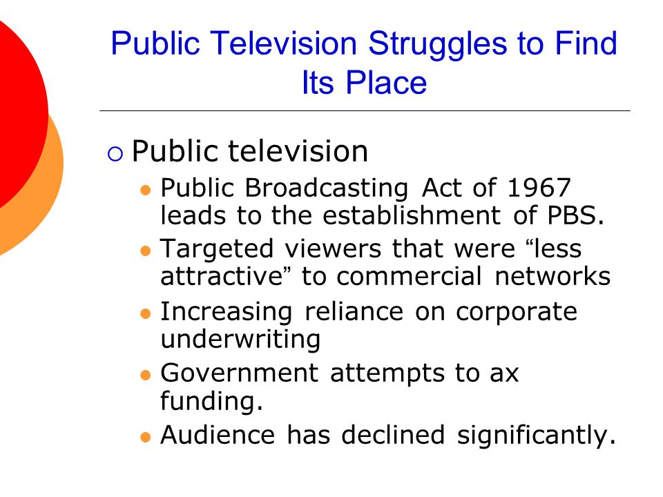 Public Television Struggles to Find Its Place  Public television Public Broadcasting Act of 1967 leads to the establishment of PBS. Targeted viewers