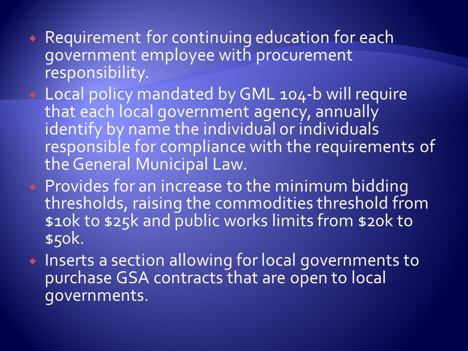  Requirement for continuing education for each government employee with procurement responsibility.