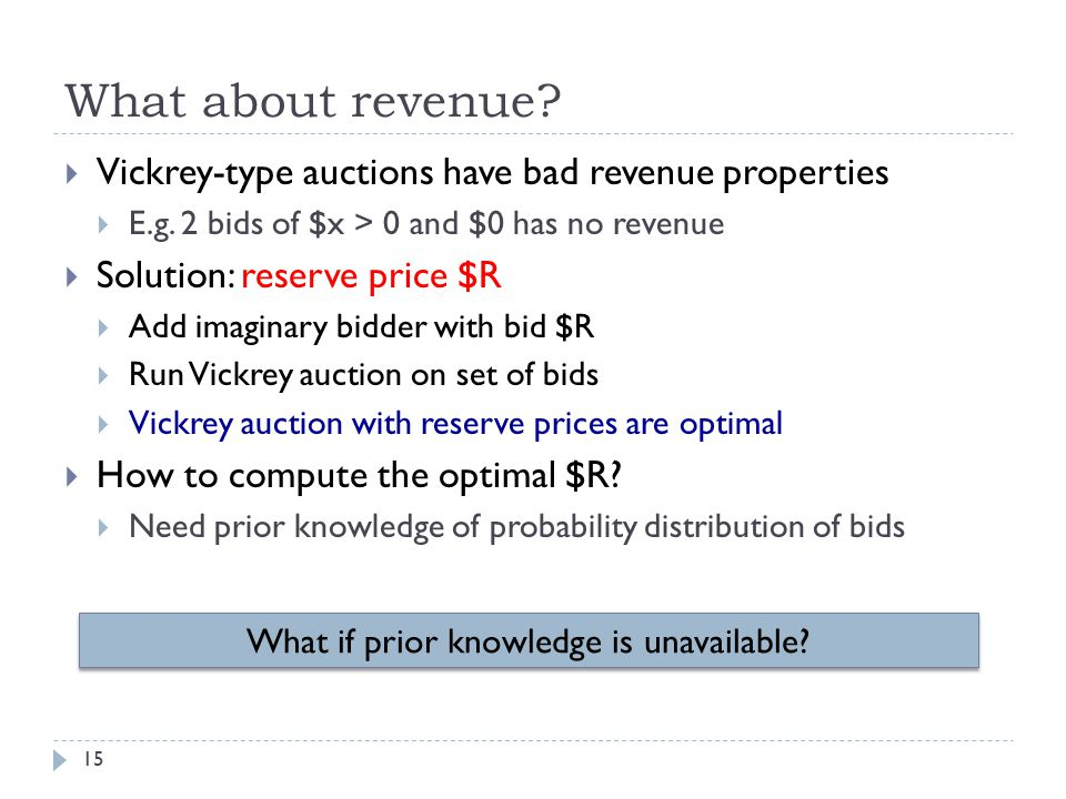 What about revenue.  Vickrey-type auctions have bad revenue properties  E.g.