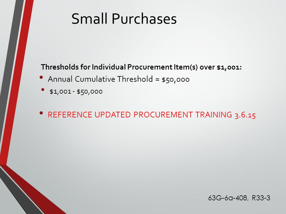 Small Purchases Thresholds for Individual Procurement Item(s) over $1,001: Annual Cumulative Threshold = $50,000 $1,001 - $50,000 REFERENCE UPDATED PR