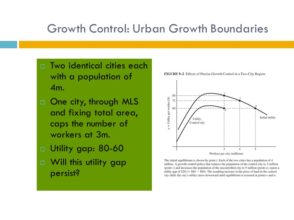 Growth Control: Urban Growth Boundaries  Two identical cities each with a population of 4m.