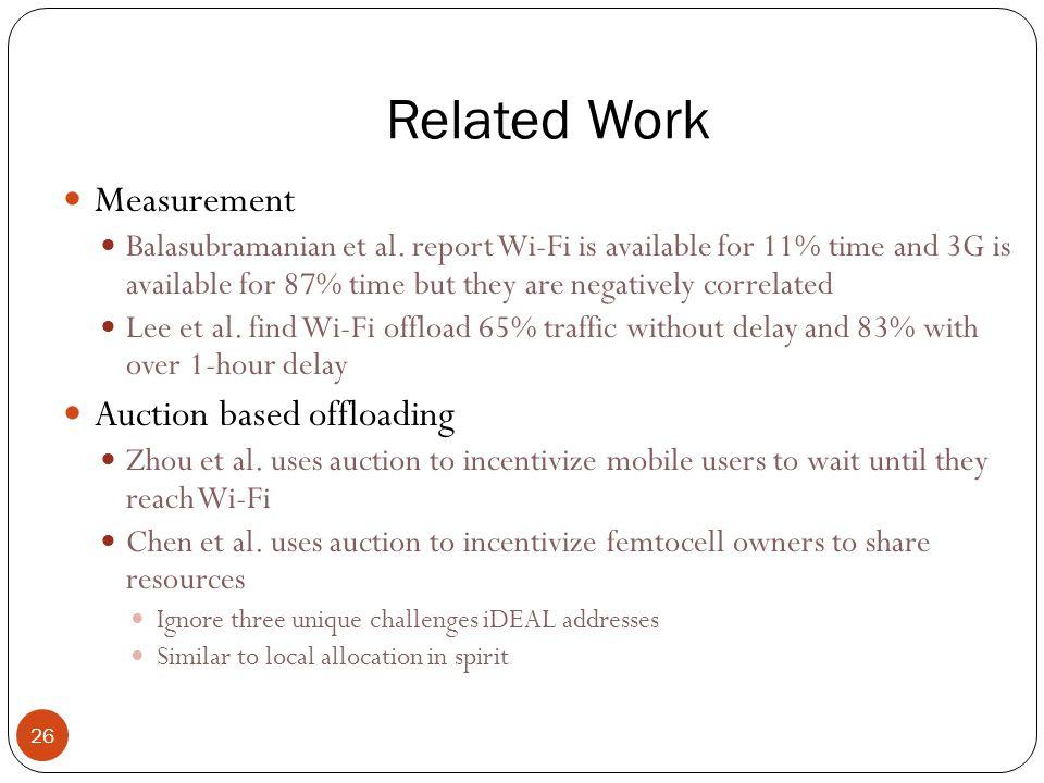 Related Work 26 Measurement Balasubramanian et al.