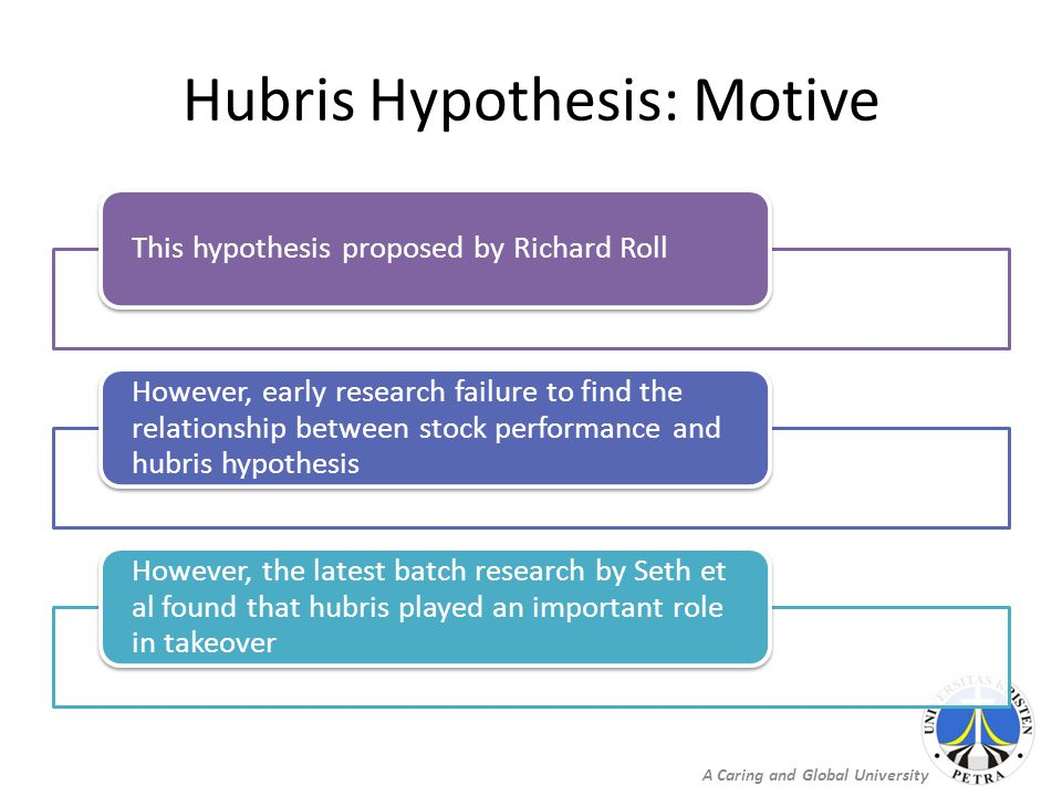 A Caring and Global University Hubris Hypothesis: Motive This hypothesis proposed by Richard Roll However, early research failure to find the relationship between stock performance and hubris hypothesis However, the latest batch research by Seth et al found that hubris played an important role in takeover