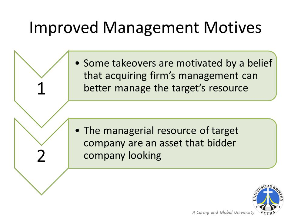 A Caring and Global University Improved Management Motives 1 Some takeovers are motivated by a belief that acquiring firm's management can better mana