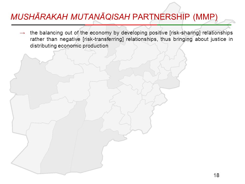 MUSHĀRAKAH MUTANĀQISAH PARTNERSHIP (MMP) →the balancing out of the economy by developing positive [risk-sharing] relationships rather than negative [risk-transferring] relationships, thus bringing about justice in distributing economic production 18