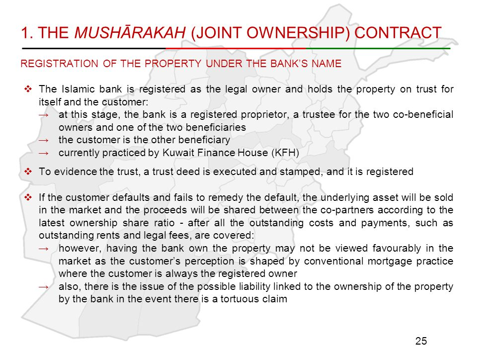 1. THE MUSHĀRAKAH (JOINT OWNERSHIP) CONTRACT REGISTRATION OF THE PROPERTY UNDER THE BANK'S NAME  The Islamic bank is registered as the legal owner an