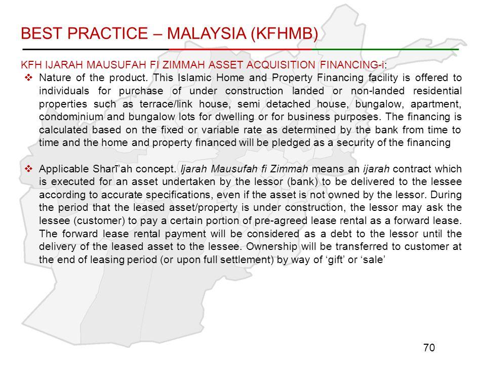 KFH IJARAH MAUSUFAH FI ZIMMAH ASSET ACQUISITION FINANCING-i:  Nature of the product.