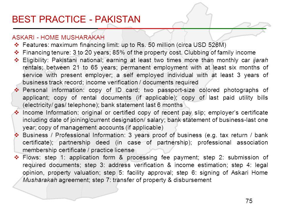 BEST PRACTICE - PAKISTAN ASKARI - HOME MUSHARAKAH  Features: maximum financing limit: up to Rs.