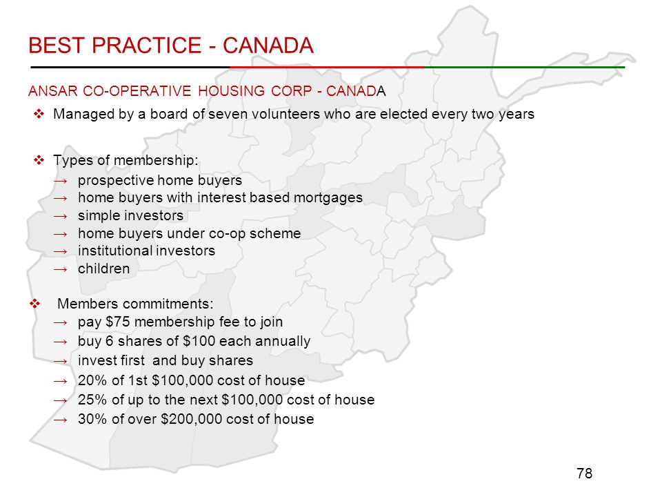 ANSAR CO-OPERATIVE HOUSING CORP - CANADA  Managed by a board of seven volunteers who are elected every two years  Types of membership: →prospective home buyers →home buyers with interest based mortgages →simple investors →home buyers under co-op scheme →institutional investors →children  Members commitments: →pay $75 membership fee to join →buy 6 shares of $100 each annually →invest first and buy shares →20% of 1st $100,000 cost of house →25% of up to the next $100,000 cost of house →30% of over $200,000 cost of house 78 BEST PRACTICE - CANADA