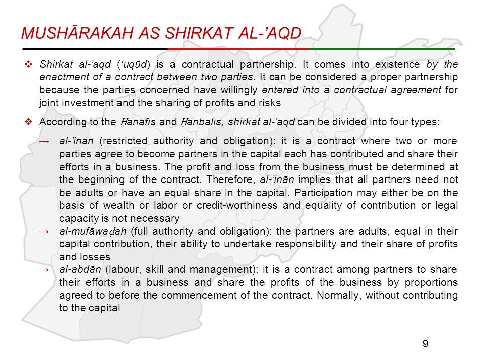 MUSHĀRAKAH AS SHIRKAT AL-'AQD  Shirkat al-'aqd ('uqūd) is a contractual partnership.
