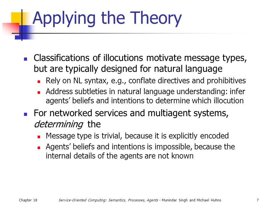 Chapter 187Service-Oriented Computing: Semantics, Processes, Agents - Munindar Singh and Michael Huhns Applying the Theory Classifications of illocuti