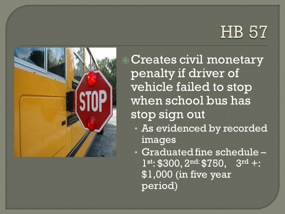  Creates civil monetary penalty if driver of vehicle failed to stop when school bus has stop sign out As evidenced by recorded images Graduated fine