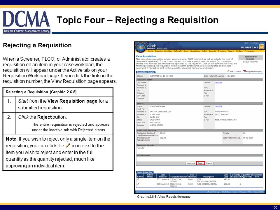 Rejecting a Requisition (Graphic 2.6.8) 1.