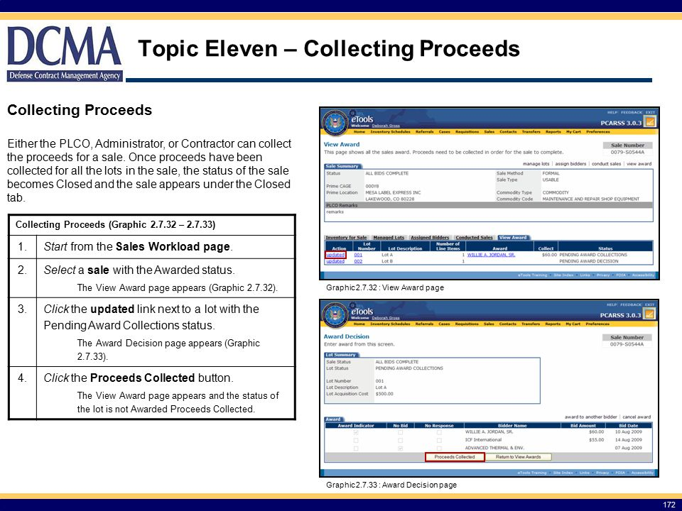 Topic Eleven – Collecting Proceeds 172 Collecting Proceeds Either the PLCO, Administrator, or Contractor can collect the proceeds for a sale.